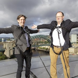 Jamie Crick and Tim Lihoreau on the roof