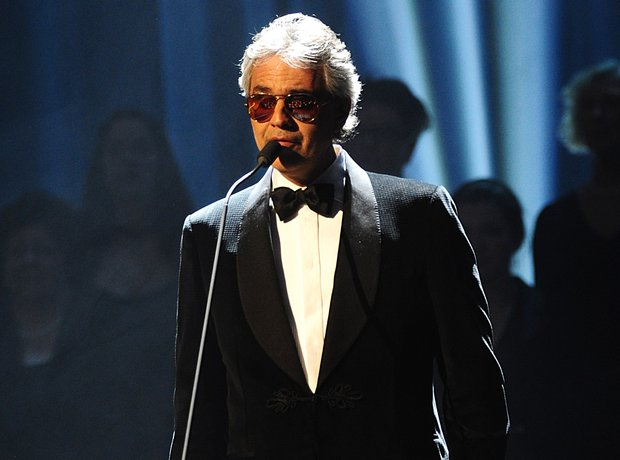 Andrea Bocelli on stage at the Classic BRIT Awards