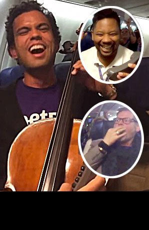 Cello and beatbox on plane