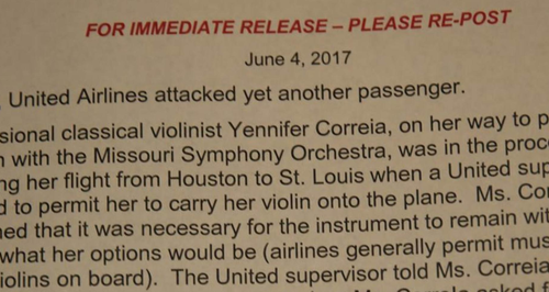 United Airlines violin statement